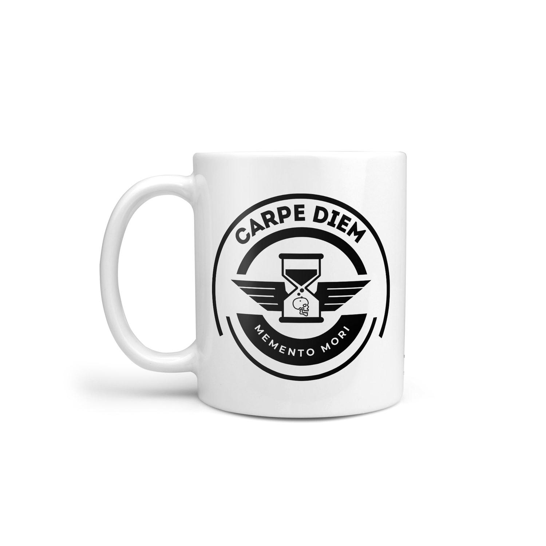 carpe diem memento mori mug stoic philosophy coffee cup seize